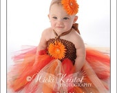 Custom Boutique Fall Harvest Orange Gerbera Daisy Posh Tutudress Thanksgiving Fall Holidays and Portraits