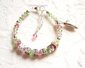Custom Boutique Personalized Baby Girl Child Swarovski Crystal Sterling Silver Name Bracelet