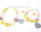 Sister Bracelets Baby Girl ChildBig Sister Little Sister Custom Designed Sterling Silver Flower Charm Bracelets - Set of 2