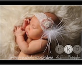 Raw Silk Handmade Lace Headband with Swarovski Crystal Pearls Crystal Curly Ostrich Feathers and French Tulle Baby Infant Toddler Girl Adult