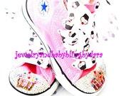 Infant Toddler CUPCAKE Swarovski Bling Converse Pink HiTop Crystal Sneakers Shoes