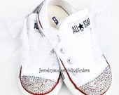 Infant Toddler White Diamond Swarovski Crystal AB Chuck Taylor All Star White Low Converse Sneakers