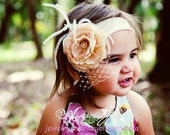 Cream Cabbage Flower With Pearl Rhinestone Center French Netting and Feather Accents Headband on Super Soft Nylon newborns to age 3/4