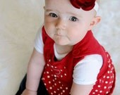 Red Rosette Swarovski Center  Stretch Ribbon Headband Newborn to Adults  ...Matching Mommy or Big Sister Clip also available