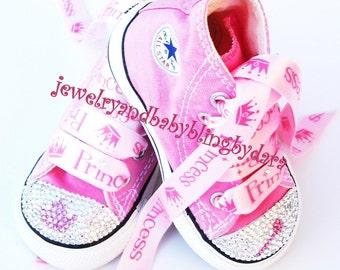 Infant Toddler Bling Princess tiara crown & wand Swarovski Crystal Pink Converse Hi-Top Sneakers Shoes