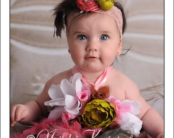 Couture Posh Vintage Raw Silk Handmade with Swarvoski Crystal Feathers and Flower Accents Baby Infant Toddler Girl Adult