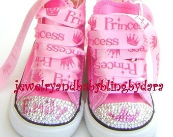 Crystal Converse Swarovski Converse Bling Converse Infant Toddler DIVA PRINCESS Bling Crystal Pink Converse Hi-Top Sneakers Shoes
