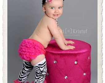 Girl Black and White Striped Zebra Leg Warmers with hot pink chiffon ruffles and swarovski crsytal bling