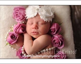 Shabby Chic Fabric Roses Rhinestone Gem Center Soft Ribbon Headband UPIC Colors Fits Newborn Infants through Adults
