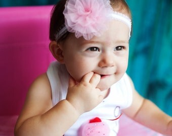 Chiffon Rosette Ruffle Headband Designed to Fit Infant to Adult UPIC Colors