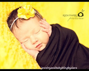 Satin tulle mini flower with freshwater pearl centers on thin elastic headband Perfect for Newborns to Adults UPIC Colors