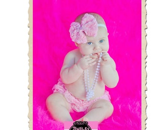 NEW Shabby Chic Fabric Rose Bow Rhinestone Gem Center Glitter Soft Ribbon Headband UPIC Colors Fits Newborn Infants through Adults