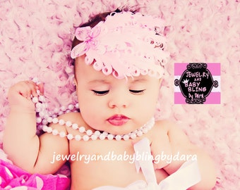 Custom Boutique Stunning Pink and White Feather Butterfly Glitter Headband Fits Infants to Adults
