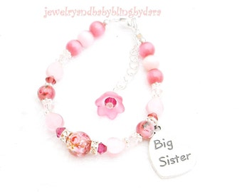 Boutique Baby Girl Child Big or Little SisterCustom Designed Sterling Silver  Flower Charm Bracelet