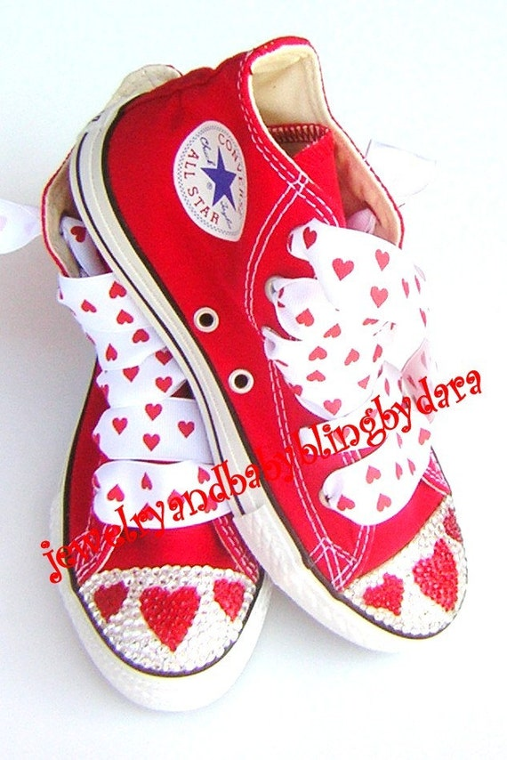 Swarovski Crystal Bling RED HEART Big Girl Bling Converse Red Chuck Taylor HiTop Sneakers