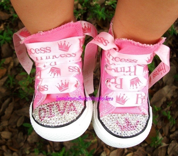 Infant Toddler Bling DIVA PRINCESS Swarovski Crystal Pink Converse Hi-Top Sneakers Shoes