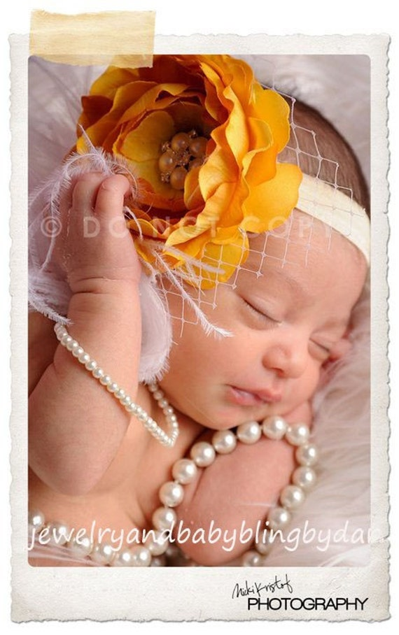 Yellow Cabbage Rose Flower Pearl Rhinestone Gem Curly Ostrich Feather and French Tulle Accents  Soft Ribbon Headband