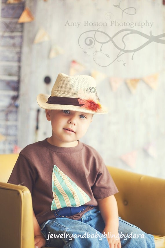 Fishing Fedora Hat Feathers and Lure Accents Fits Ages 2 to 8 years old