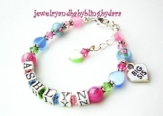 Boutique Princess Baby Girl Flower Sterling Silver Charm Name Bracelet