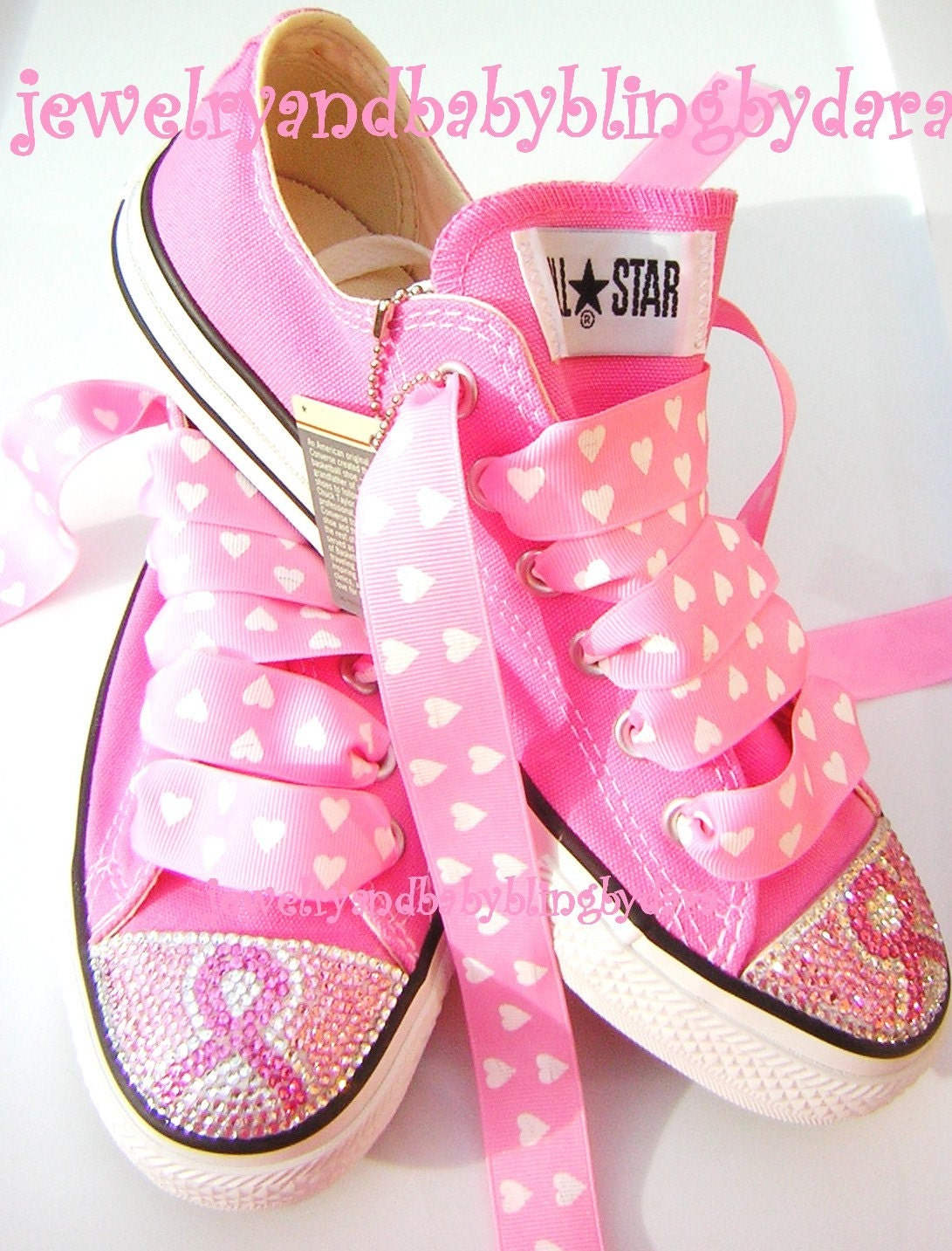 BREAST CANCER AWARENESS Adult Teen Swarovski Crystal Converse Bling Pink Low ...