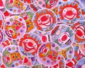 clown stickers - 1.5 inch adhesive punchie rounds - 10