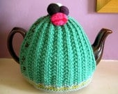 Hand Knitted Tea Cozy - Turquoise