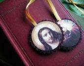 Hand-dyed Wool Scapular -- Sacred Heart -- Handmade in Ireland