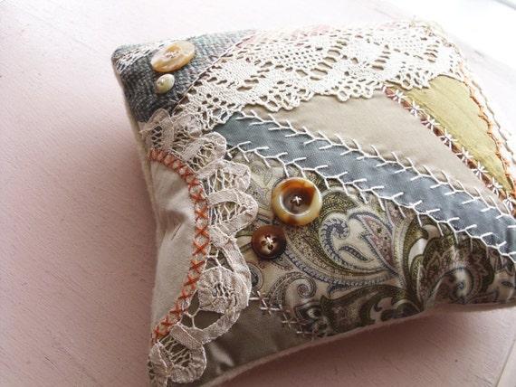 Crazy Quilt Pillow -- Celery and Smoke -- Handmade in Ireland