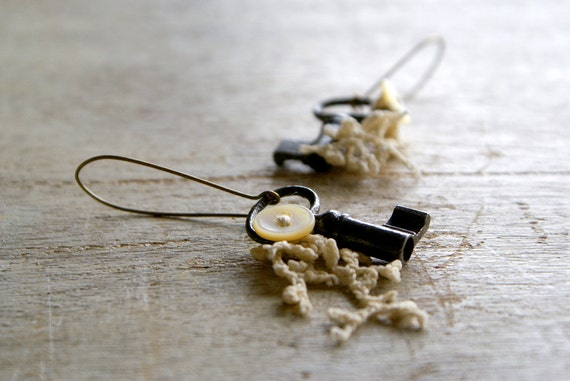 Antique Key Earrings with Buttons and Lace -- Handmade in Ireland