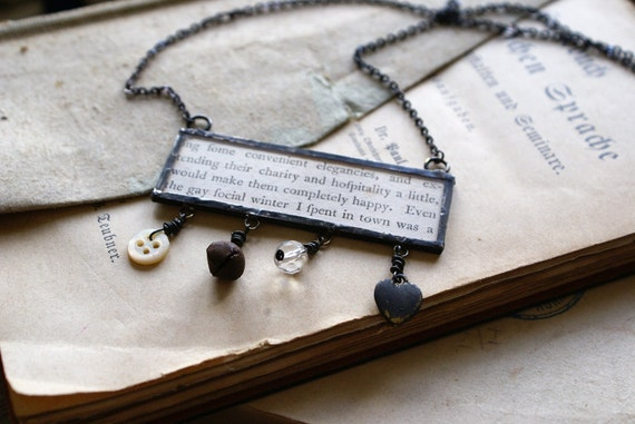 Mixed Media Soldered Pendant with Vintage Book Page -- Handmade in Ireland