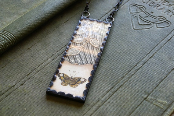 Vintage Lace Soldered Butterfly Collage Pendant -- Handmade in Ireland