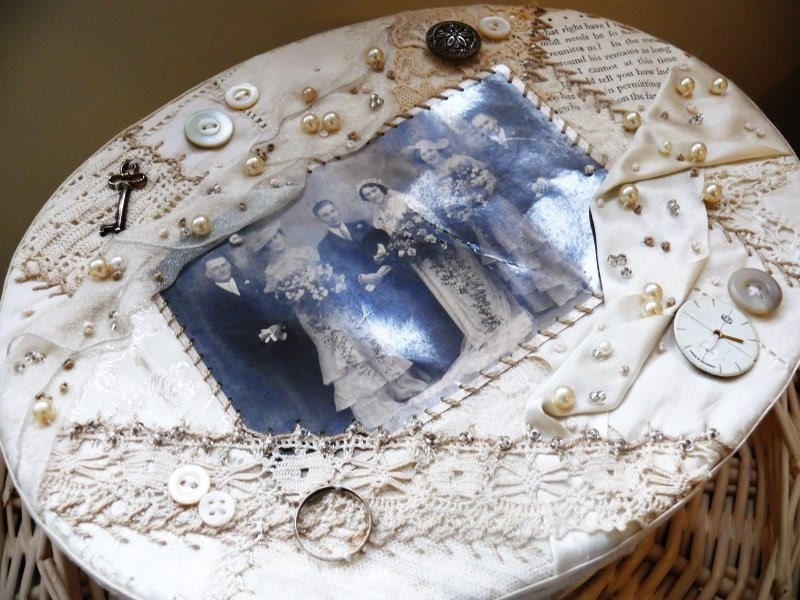 Crazy Quilt Wedding Card Box To Hold Vintage Lace And