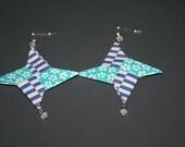 CACARPs Special Order Blues Ninja Star Earrings