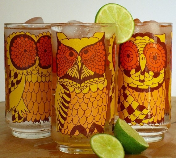 Libbey Owl Glasses - Set of 3 - Vintage 1960s-70s