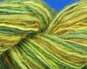 Hand spun hand dyed balanced singles yarn Autumn Greens