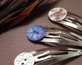 Trio of Mother of Pearl Button Snap Clips