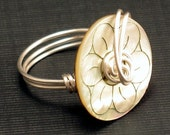 Ring - Mother of Pearl Button with Carved Flower