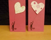 Two Monkey Valentines (raspberry paper)