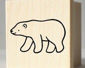 Polar Bear Rubber Stamp - wood mounted, deep etched, red rubber stamp