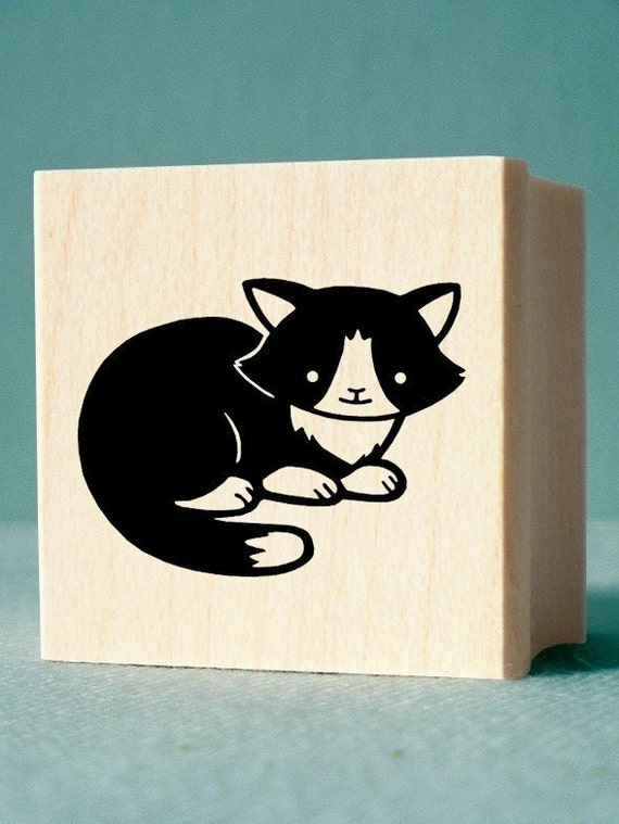 Tuxedo Cat Rubber Stamp - wood mounted, deep etched, red rubber stamp