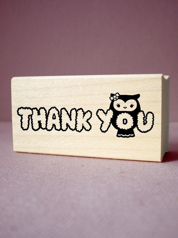 1 x 2 Inch Thank You Owl Rubber Stamp