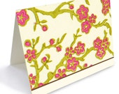 Asian inspired floral note cards boxed set of 6 FREE DOMESTIC SHIPPING