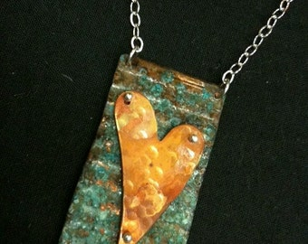 Oxidized Copper Heart of Love