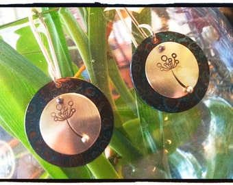 Oxidized Copper with Silver Stamped Dandelion Poofball