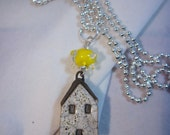 ON SALE White Ceramic House Yellow Bumpie Sun Necklace
