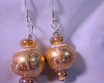 Ivory Gold Leaf Lampwork Earrings