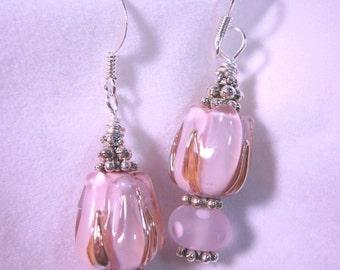 Pink Tulip Pink Polka Dot Earrings