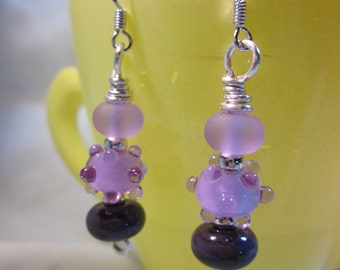 Violet Lampwork Earrings