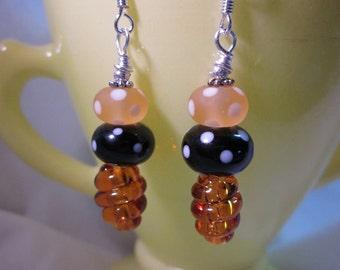 Black Amber Polka Dot Topaz Swirl Earrings