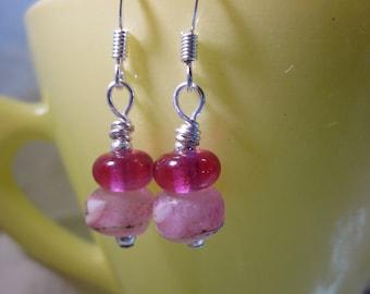 Pink Organic Seed Beads with Fuschia Earrings